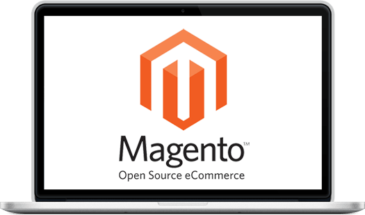 a laptop demonstrating magento