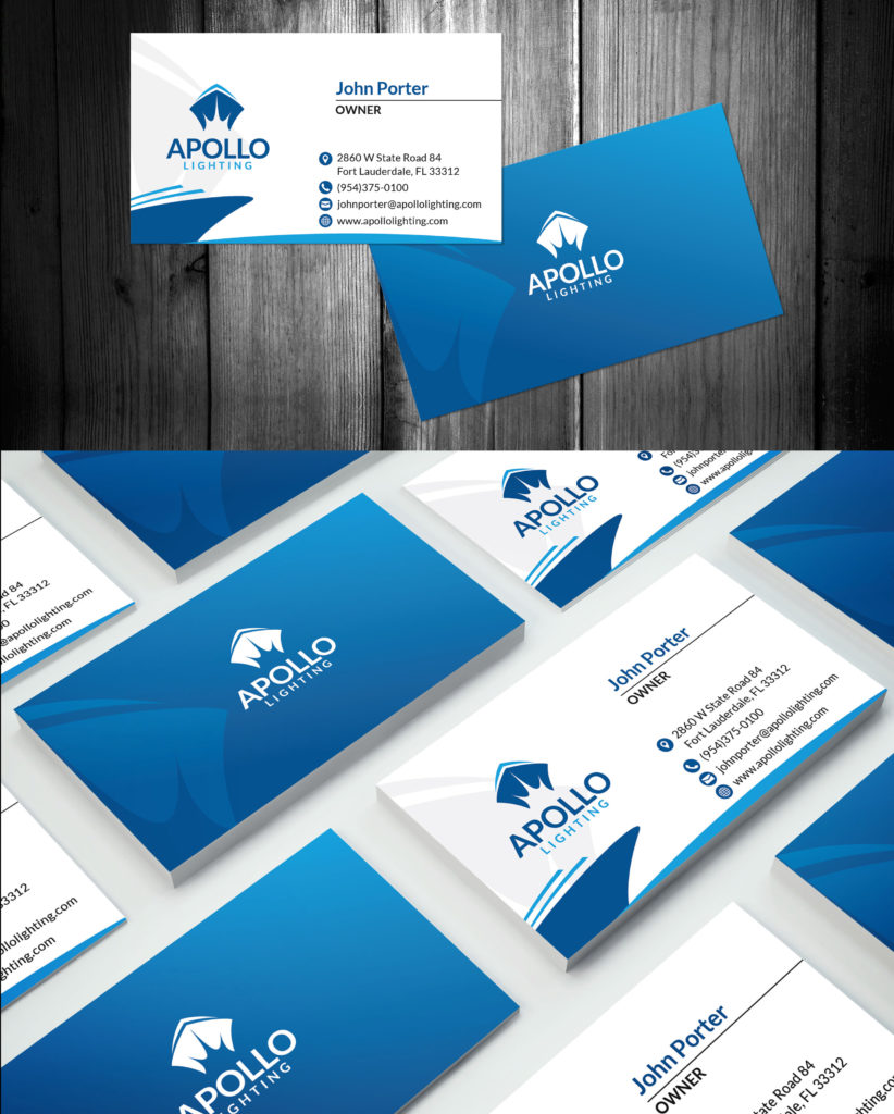 Business Card Design & Apollo Lighting - Fort Lauderdale Marine Lighting Company Branding